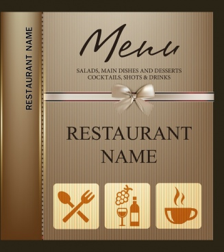 restaurant menu template knot icon brown stripes ornament