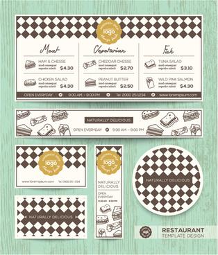 restaurant menu template vintage vector