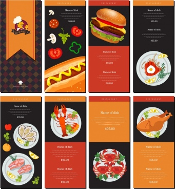 restaurant menu templates shiny elegant modern design