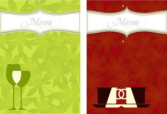 menu cover templates classical flat cup glass sketch