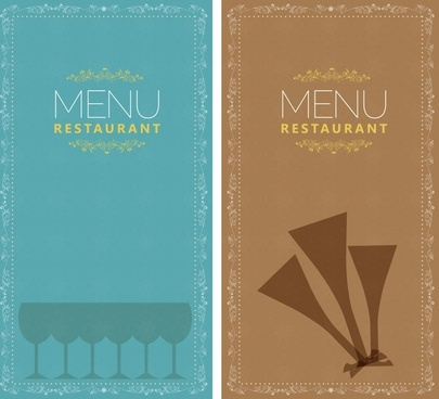 restaurant menu templates retro design flat glass sketch