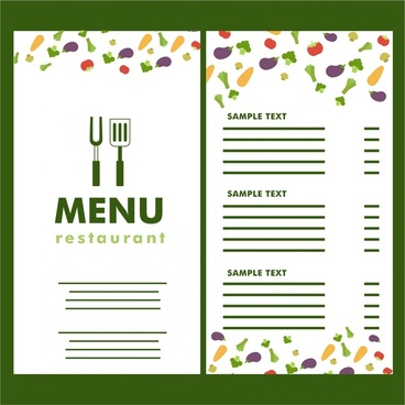 restaurant menu vegetable icons on white background