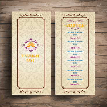 restaurant menu with classical border