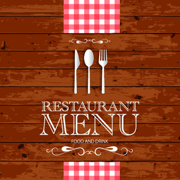 restaurant menu with wood board background vector