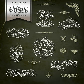 restaurant menus calligraphy design vector