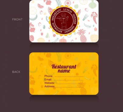 restaurant name card template food icons vignette ornament