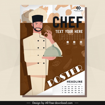 restaurant poster chef icon blurred vegetables sketch