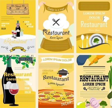 restaurant poster sets design with various colored styles