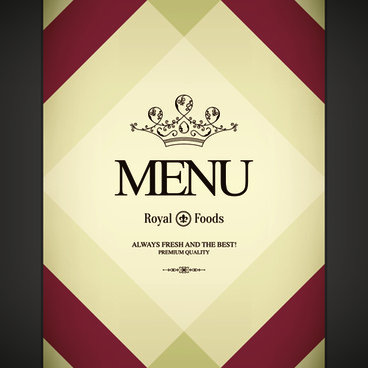 restaurant royal food menu cover vector