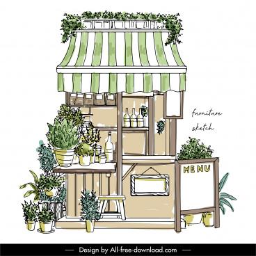 restaurant shop exterior template classical handdrawn sketch