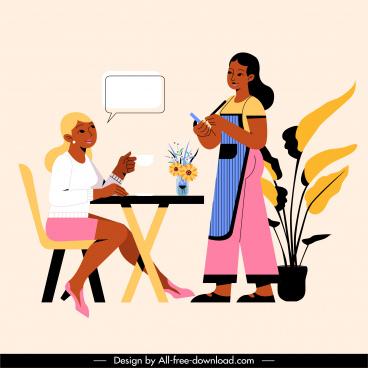 restaurant work painting waitress customer sketch cartoon design
