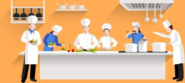restaurants kitchen activities design with chef and cooks
