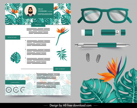 resume design elements flora pen glasses usb sketch