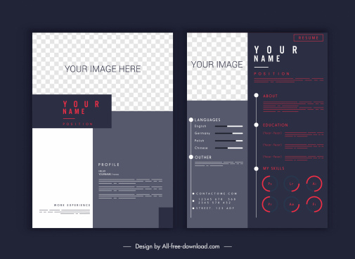 resume inforgraphic template contrasted modern elegant decor