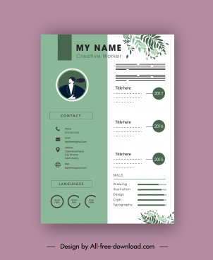 resume template bright green white leaves decor