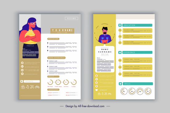 resume template candidate icon colorful modern sketch