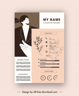 resume template classic design blurred leaf decor