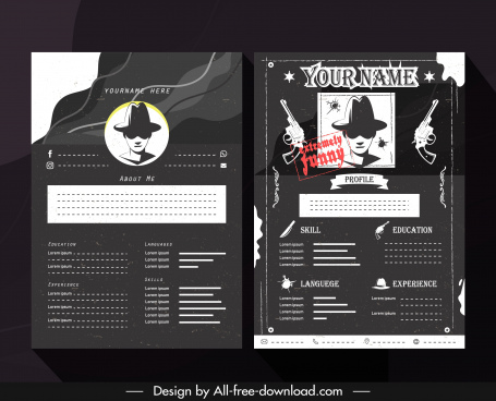 resume template cowboy theme dark black white