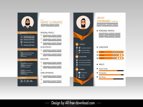 resume template elegant modern contrasted decor