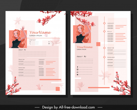resume template girl floral branch decor classical design