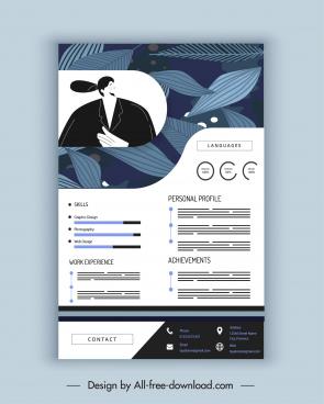 resume template leaves decor dark colored classic