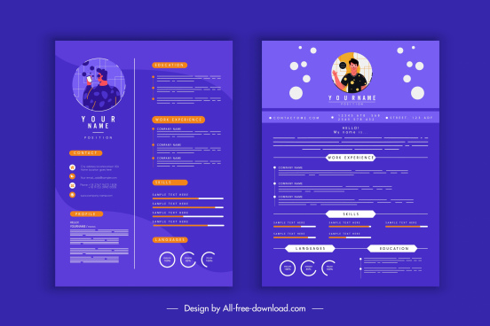 resume template modern stationary elements decor free