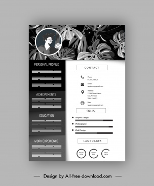 resume template retro black white leaves decor