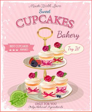 retro advertising poster cupcakes vector