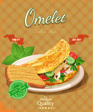retro advertising poster omelet food vector