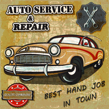 retro auto service and repair poster vector