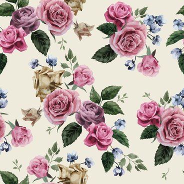 retro beautiful roses vector seamless pattern