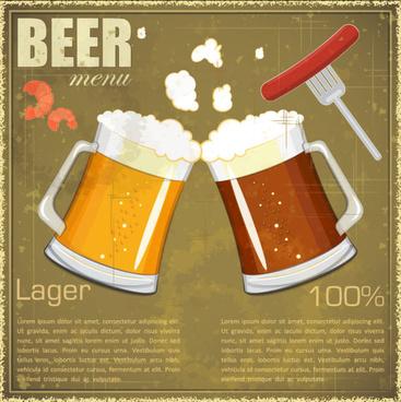 retro beer design vector