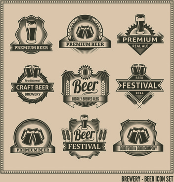 retro beer labels graphic set vector