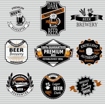 retro beer labels vectors set