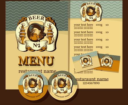 retro beer menu cover with list vector