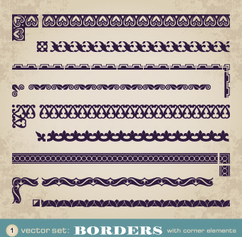 retro border decoration element vector