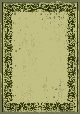 retro border design dark green classical flowers pattern