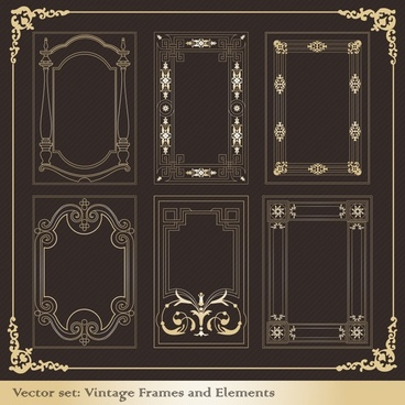 border templates retro elegant symmetric decor