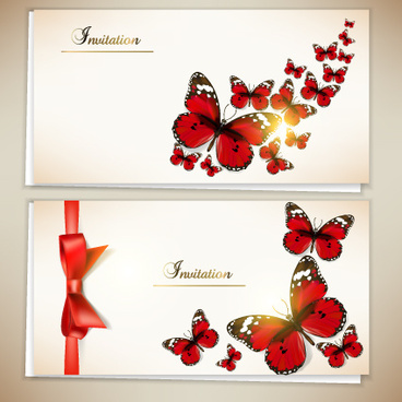 retro butterfly invitation cards vector