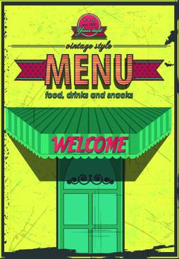 retro cafe and restaurant menu