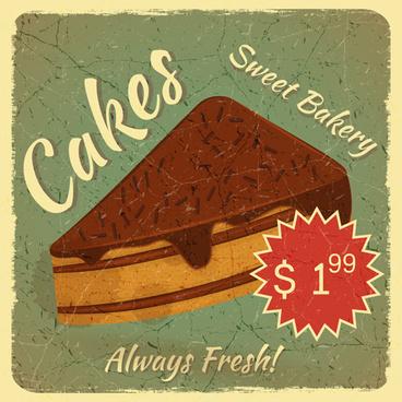 retro cakes poster vector