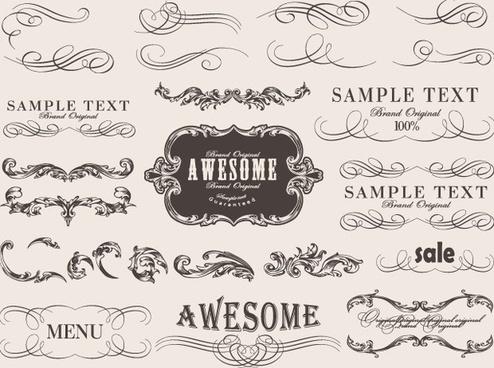 retro calligraphic frame labels decor vector