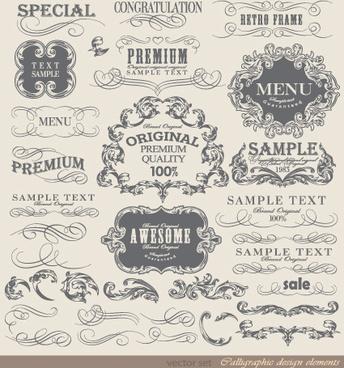retro calligraphy design elements vector graphic