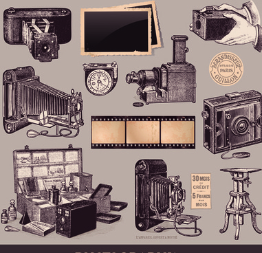 retro camera design elements vector