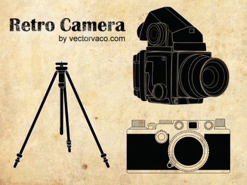 retro camera elements vector