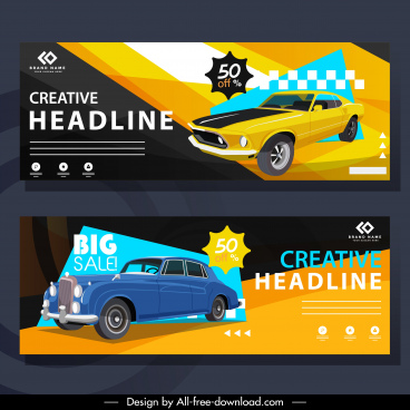 retro car advertising banners colorful decor