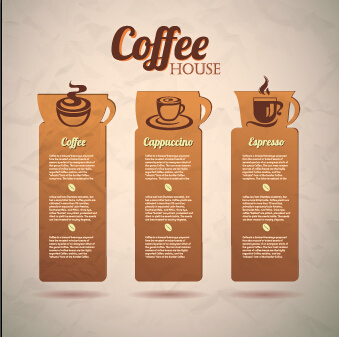 retro cardboard coffee tags vector design