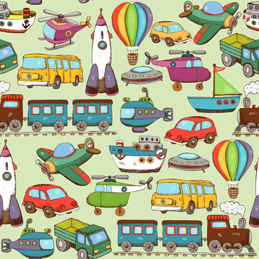retro children toys seamless pattern vector