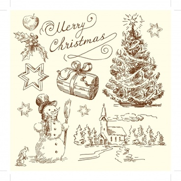 christmas card template classical handdrawn symbols sketch