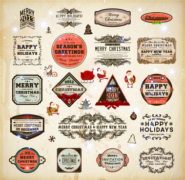 retro christmas labels desing vector